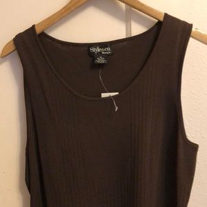 New! Style & co brown sleeveless top 1X